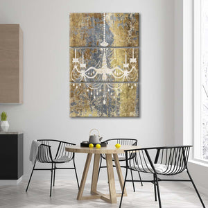 Gilded Chandelier Multi Panel Canvas Wall Art - Abstract