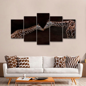 Giraffe Affection Multi Panel Canvas Wall Art - Animals