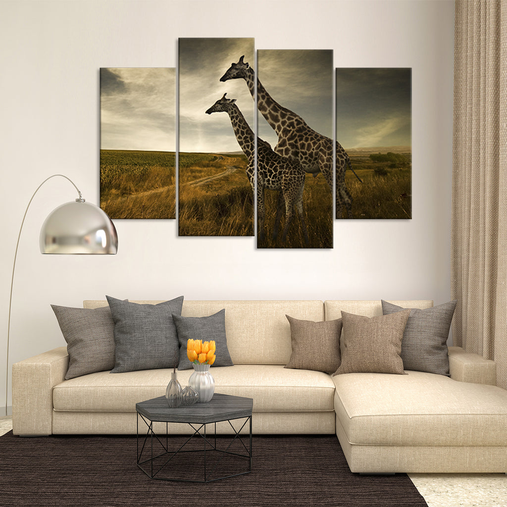 giraffe family multi panel canvas wall art elephantstock. Black Bedroom Furniture Sets. Home Design Ideas