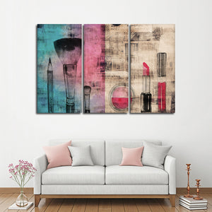 Glam Up Tools Multi Panel Canvas Wall Art - Makeup