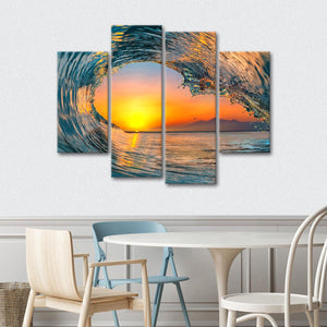 Glass Wave Multi Panel Canvas Wall Art - Surfing