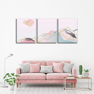 Glitter Landscape Multi Panel Canvas Wall Art - Minimalism