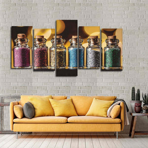 Glitter Multi Panel Canvas Wall Art - Makeup