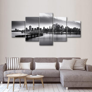 Gloomy Manhattan Multi Panel Canvas Wall Art - City