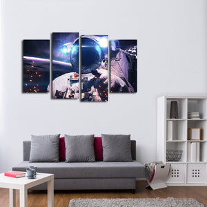 Glowing Astronaut Multi Panel Canvas Wall Art - Astronomy