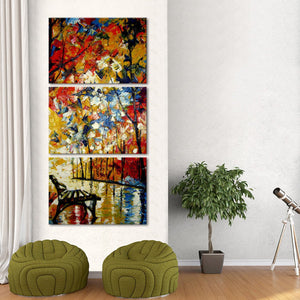 Glowing Park Multi Panel Canvas Wall Art - Abstract