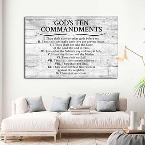 Gods Ten Commandments Grey Canvas Wall Art - Religion