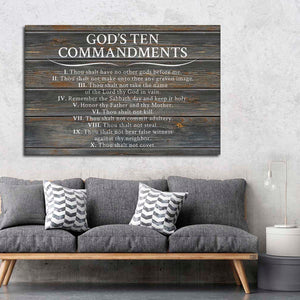 Gods Ten Commandments Slate Canvas Wall Art - Religion