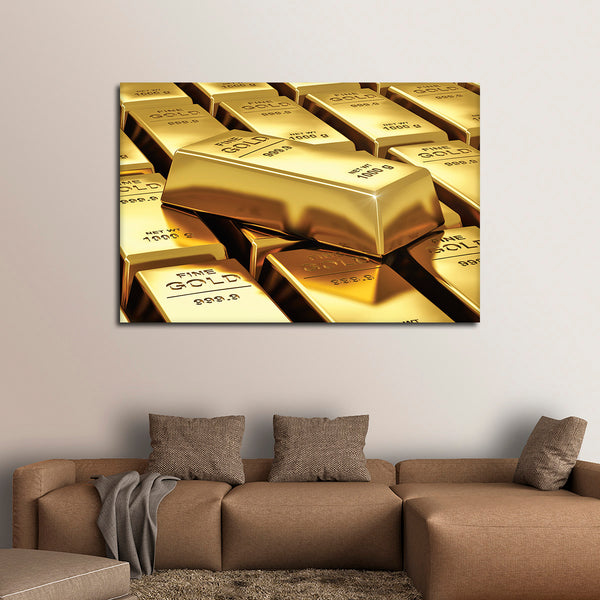 Gold Bar Multi Panel Canvas Wall Art | ElephantStock