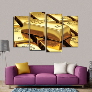 Gold Bar Multi Panel Canvas Wall Art - Gold