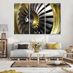 Gold Engine Multi Panel Canvas Wall Art - Airplane