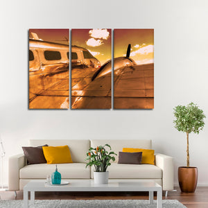 Gold Flight Multi Panel Canvas Wall Art - Airplane