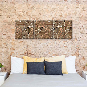 Gold Lattice Grid Multi Panel Canvas Wall Art - Abstract