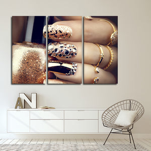 Gold Glitter Nails Multi Panel Canvas Wall Art - Nails