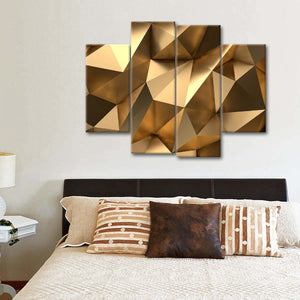Golden Abstract Multi Panel Canvas Wall Art - Gold