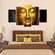 Golden Buddha Multi Panel Canvas Wall Art