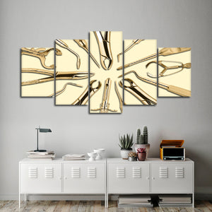 Golden Dental Tools Multi Panel Canvas Wall Art - Dental