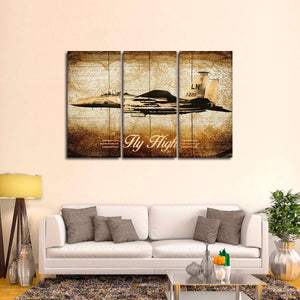 Golden F15 Eagle Multi Panel Canvas Wall Art - Airplane