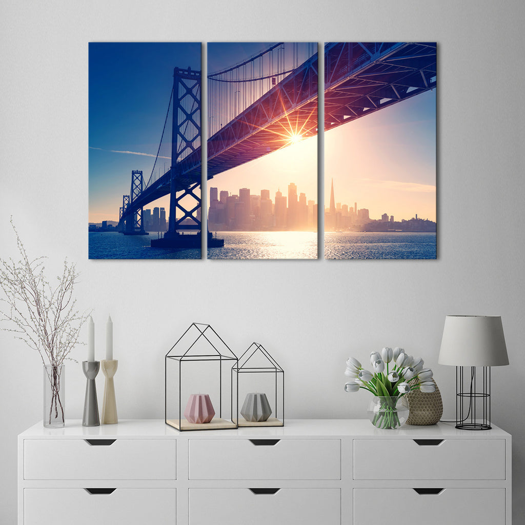 bay bridge multi panel canvas wall art elephantstock. Black Bedroom Furniture Sets. Home Design Ideas