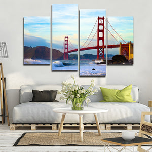 Shore At Golden Gate Bridge Multi Panel Canvas Wall Art - City