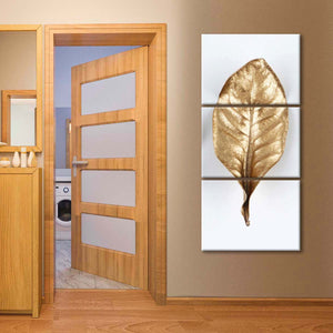 Golden Leaf Multi Panel Canvas Wall Art - Gold