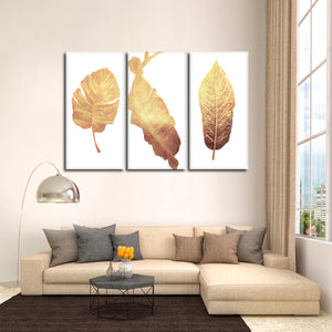 Golden Leaves Multi Panel Canvas Wall Art - Botanical