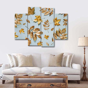 Gold Autumn Leaves Multi Panel Canvas Wall Art - Gold