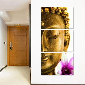 Golden Lotus Buddha Multi Panel Canvas Wall Art - Buddhism