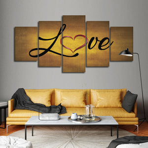 Golden Love Multi Panel Canvas Wall Art - Relationship