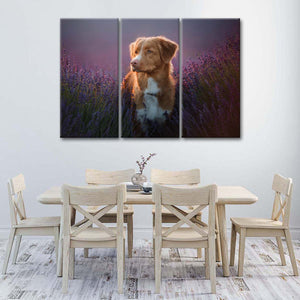 Golden Retriever In Lavender Multi Panel Canvas Wall Art - Dog