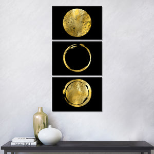 Golden Seals Multi Panel Canvas Wall Art - Gold