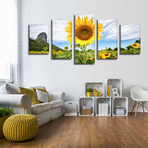 Golden Sunflower Multi Panel Canvas Wall Art - Flower