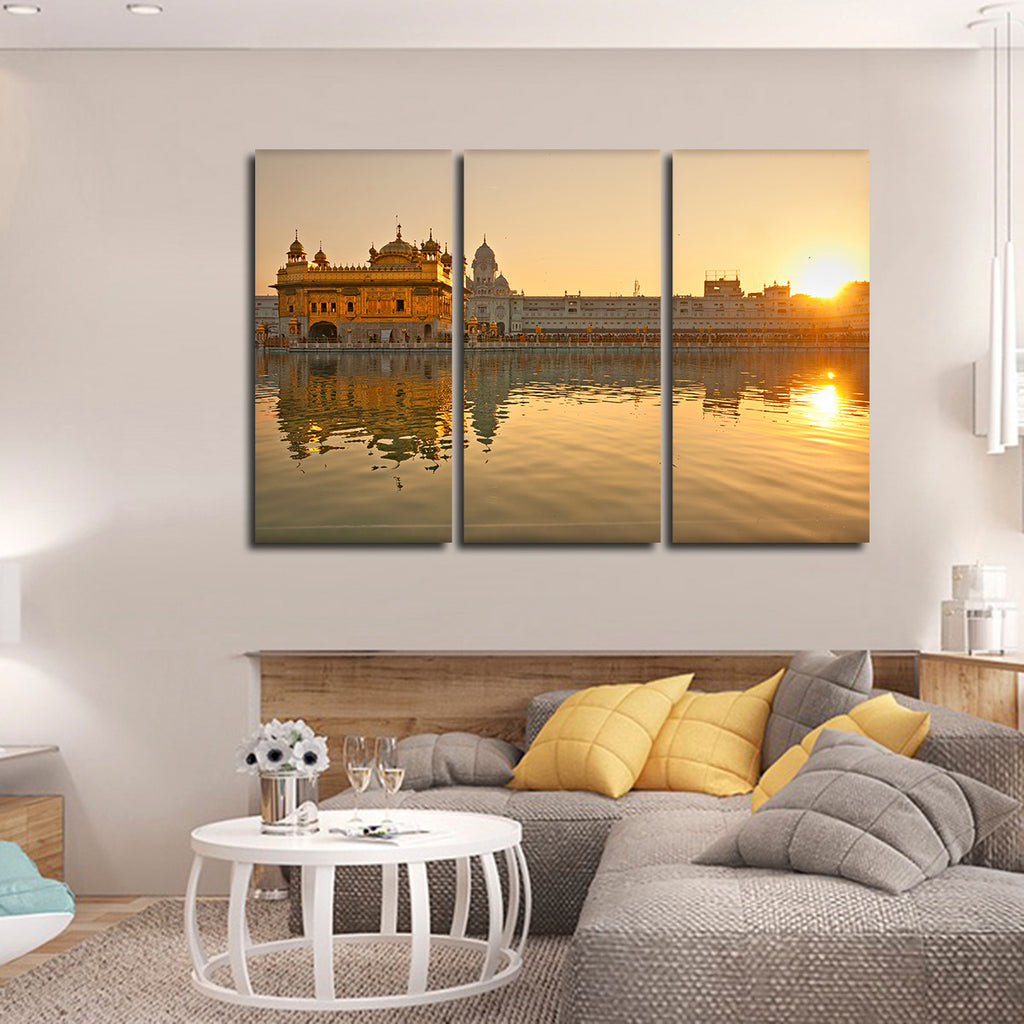 Golden Temple In Punjab Multi Panel Canvas Wall Art