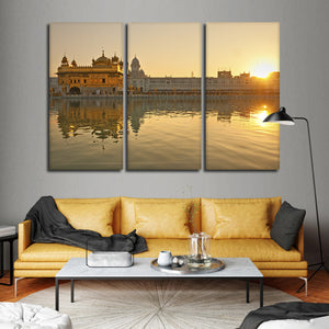Golden Temple In Punjab Multi Panel Canvas Wall Art - City