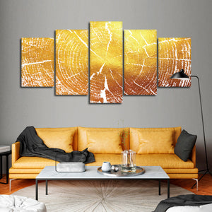 Golden Tree Rings Multi Panel Canvas Wall Art - Nature