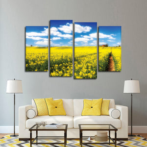 Golden Fields Multi Panel Canvas Wall Art - Flower