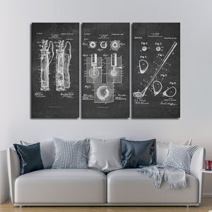 Golf Patent Compilation BW Multi Panel Canvas Wall Art - Golf
