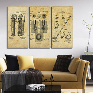 Golf Patent Compilation Multi Panel Canvas Wall Art - Golf