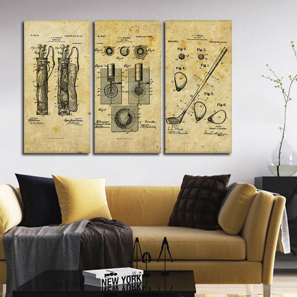 Golf Patent Compilation Multi Panel Canvas Wall Art | ElephantStock