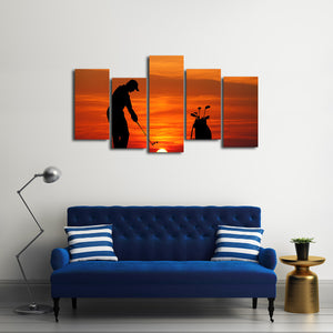 Golf At Sunset Multi Panel Canvas Wall Art - Golf