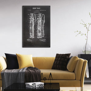Golf Bag Patent BW Canvas Wall Art - Golf