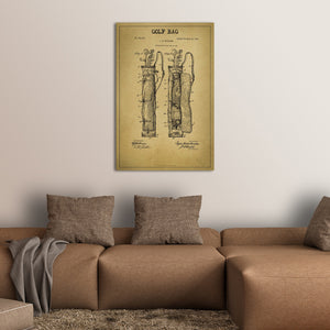 Golf Bag Patent Canvas Wall Art - Golf