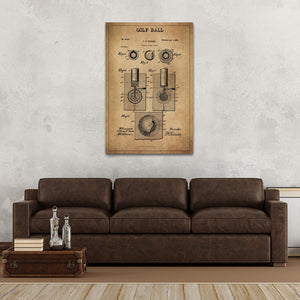Golf Ball Patent Canvas Wall Art - Golf