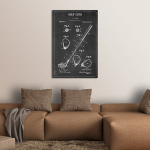 Golf Club Patent BW Canvas Wall Art - Golf