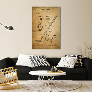 Golf Club Patent Canvas Wall Art - Golf