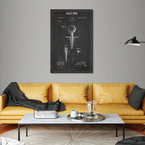 Golf Tee Patent BW Canvas Wall Art - Golf