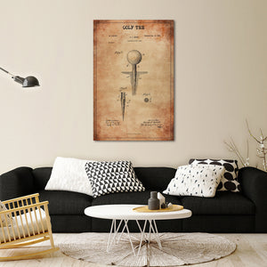 Golf Tee Patent Canvas Wall Art - Golf