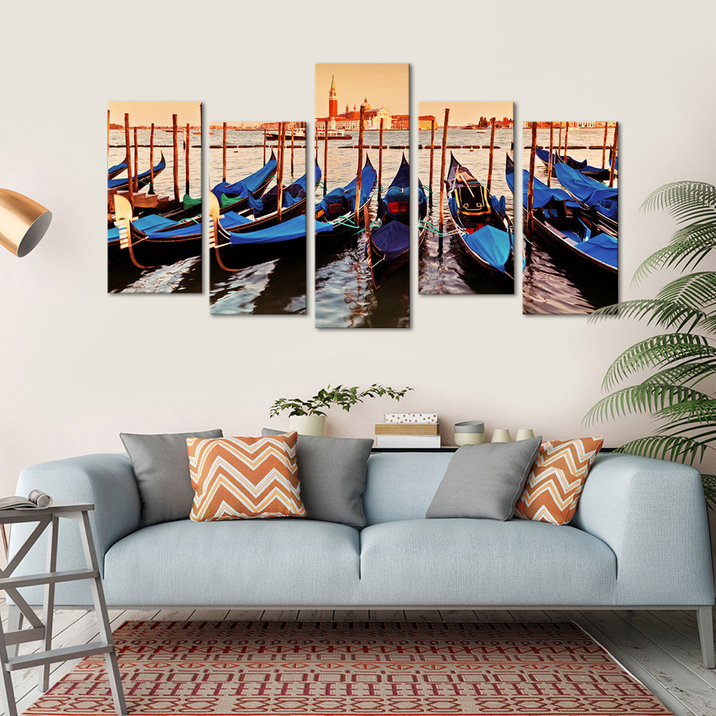 gondolas multi panel canvas wall art elephantstock. Black Bedroom Furniture Sets. Home Design Ideas