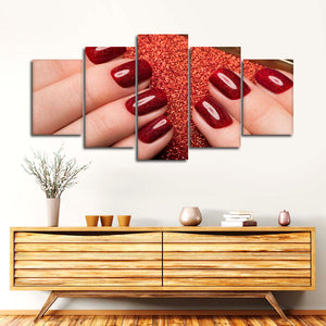 Gorgeous Glitter Nails Multi Panel Canvas Wall Art - Nails