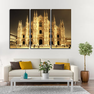 Gothic Milan Cathedral Multi Panel Canvas Wall Art - Landmarks